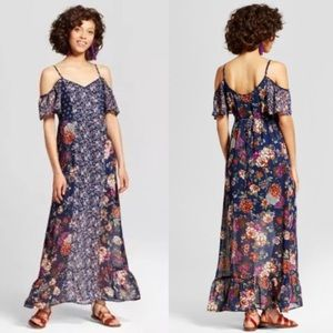 83fd51a736df6 Xhilaration Dresses - Cold shoulder mixed floral maxi dress navy blue S